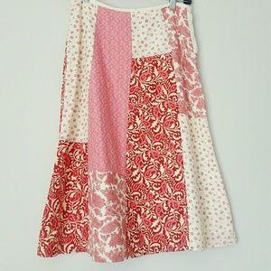 Liz Claiborne patchwork midi skirt